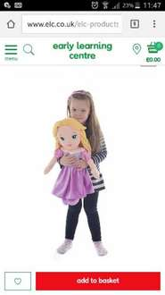 Large Disney Rapunzel Plush £10 (was £29.99) with free C+C or £3.95 del @ Elc