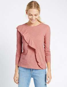 Ruffle Front Long Sleeve Jersey Top size 16 £3.99 Free C&C @ M&S