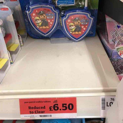 Paw Patrol Walkie Talkies half price instore at Sainsbury's - £6.50