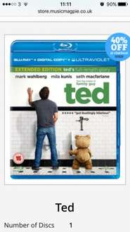 Ted blu ray (used) £1.19 @ Music Magpie