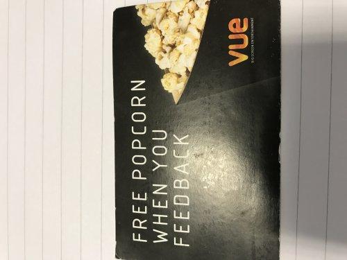 Free regular popcorn at vue!