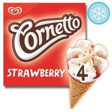 Cornetto Strawberry Ice Cream Cone 4 X 90Ml only 50p when using coupon at Tesco