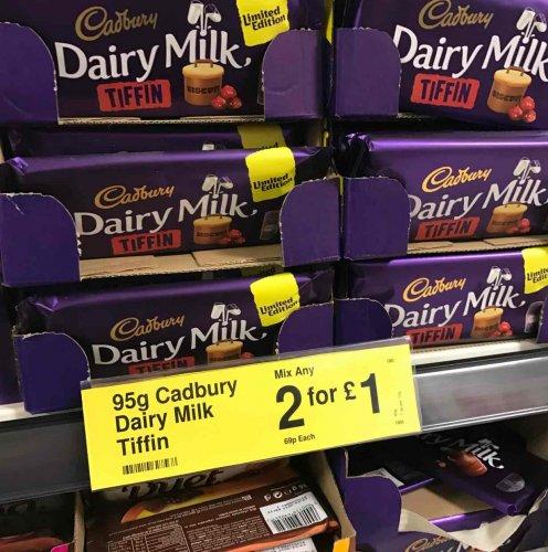Cadbury Dairy Milk Tiffin 90g 2 for £1 instore @ Farmfoods