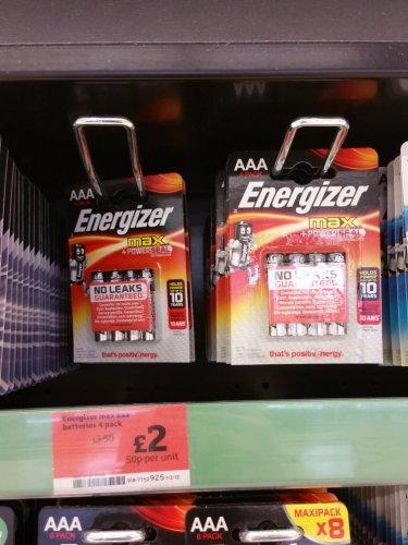 4 energiser max batteries £2. aa and aaa instore at sainsburys