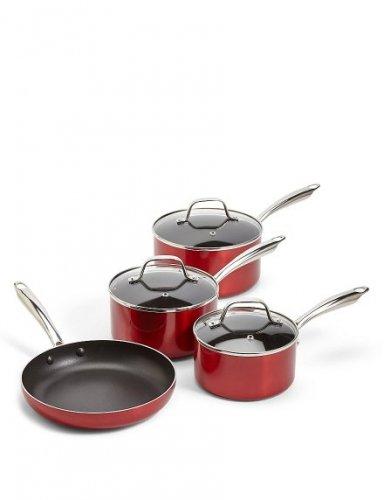 M&S 4-Piece Aluminium Pan Set now £29.99 in-store. Was £100
