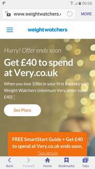 Free £40 spend at Very with Weight Watchers if you lose 10lb in 8 weeks