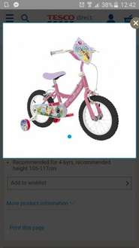 "Disney princess 14"" bike Tesco direct - £40"