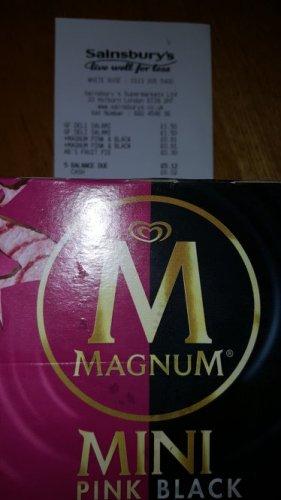 Magnum Mini 3 x Pink Raspberry and 3 x Black Espresso 91p at Sainsburys White Rose Centre