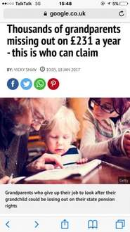 """Thousands of grandparents missing out on £231 a year - Under the rules of """"grandparents' credit"""" if the parent goes back to work after the birth of a child they can sign a form that allows a grandparent to receive National Insurance credits"""