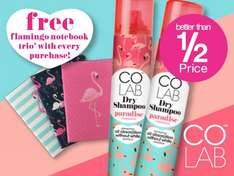 Free flamingo notebook  TRIO plus half price on Colab dry shampoo 200ml  plus free delivery for health and beautycard customers £1.73 @ Superdrug