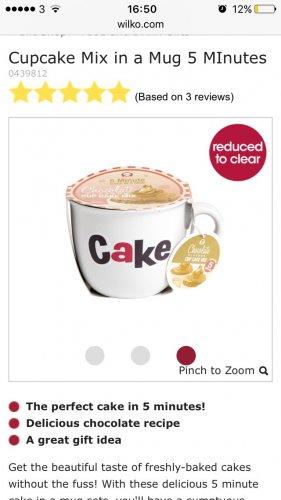 Cup cake in a mug £2 @ Wilko