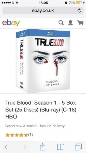 True blood seasons 1-5 set blu ray £21.99 @ Ebay - theentertainmentstore