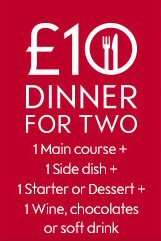 Meal deal for 2 for £10.00 @ Waitrose. Main course, Side dish, starter or dessert plus wine, beer, soft drink or chocolates.