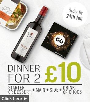 Dine in for 2 including Main, side, desert or starter, wine, beer, soft drink or chocolates £10 @ Ocado