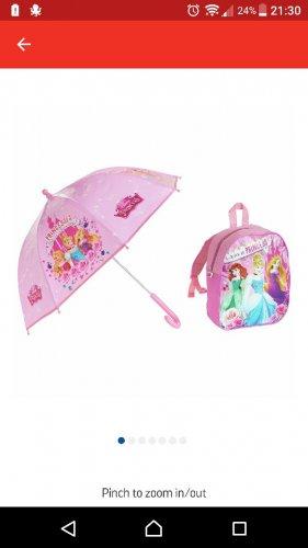 Disney Princess rucksack and umbrella ☔ set. £5.99 for the pair at Argos.