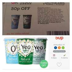 Yeo Valley Yoghurt, 500g, £1.50 at Tesco, 50p after coupon and cashback. ( 7x claims available)