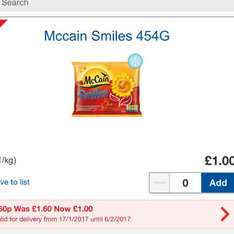 McCain Smile Potato Shapes 50p at Tesco