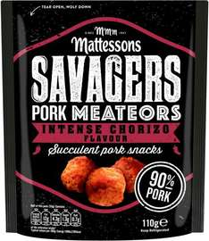 Mattessons Savagers Pork Meateors Chorizo Flavour Meat Snacks (110g) was £1.50 now  £1.00 @ Sainsbury's