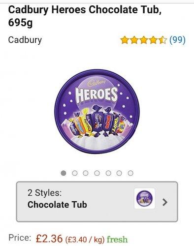 Cadburys heroes chocolate tub 695g £2.36 Amazon Fresh (Selected postcodes only)