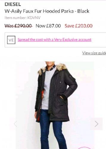 diesel Faux Fur Hooded Parka - Black was £290 now £87 @ very exclusive
