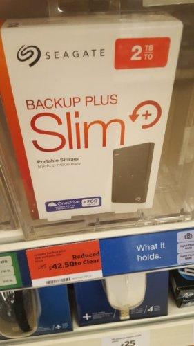 Seagate backup plus Slim 2tb £42.50 Sainsburys