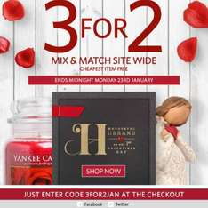 3 for 2 across Clintons online only - including Yankee sets and Yankee sale