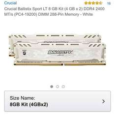 8gb ddr4 ram crucial ballistix sport - £43.56 @ Amazon