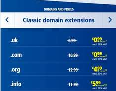 1&1 - 1 Year .com and .co.uk domain names - new registrations and transfers - £0.99 + VAT (about £1.18) with £1.15 TopCashBack / £1.10 QuidCo