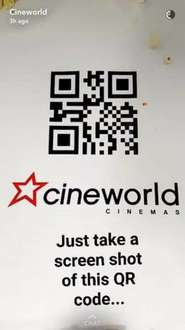 Today Friday 20th only, until midnight , free popcorn as cineworld cinemas, generic QR code