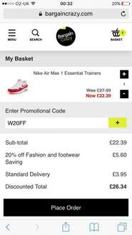 Nike airmax sizes 3 and 4 only £26.34 delivered @ Bargain Crazy