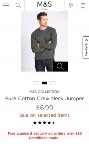 Pure Cotton Crew Neck Jumper @M&S