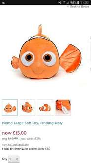 Large Nemo soft toy only £15 at Disney Store with free personalisation  £18.95 delivered @ Disney Store