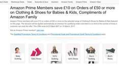 £10 off a £50 spend on kids clothes and shoes Amazon (Prime Exclusive)