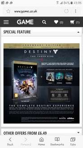Destiny: The Taken King Legendary Edition PS4 (NEW & DELIVERED) £6.49 @ TopTan via Game