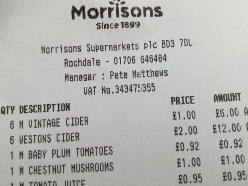 Morrisons vintage Cider (7.3%) £1 per 500ml bottle