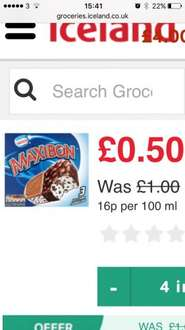 3 pack of Maxibons at iceland 50p