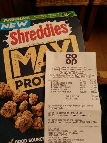 Shreddies Max Protein 80p instore @ Co-op