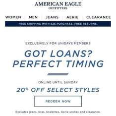 American eagle | 20% off from Unidays