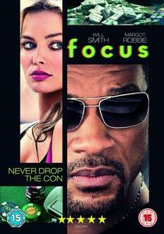 Focus (Will Smith, Margot Robbie) DVD £3.00 with free delivery @ Tesco or £3 for DVD, £4.99 for Blu-Ray with Digital HD copy @ Amazon (delivery free for prime members) or £4.99 with free delivery for Blu-Ray with Digital HD Copy @ TheEntertainmentSto