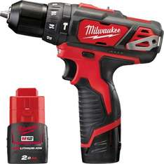 Milwaukee M12 BPD-202C with 2xLi-ion batteries, charge and case £99.82 @ Toolstation