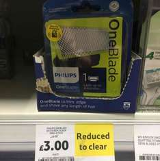 Philips Oneblade replacement blade single pack. Reduced to clear from £12 to £3. Tesco Rawtenstall.
