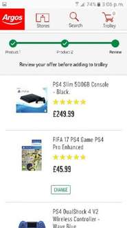 PS4 Slim 500GB Console - Fifa 17 + Sony PS4 Offical DualShock 4 Controller V2 £249.99 @ Argos