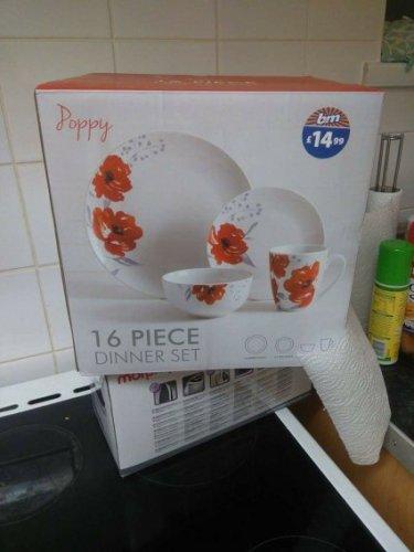 16 piece poppy dinner set £4.99 @ B&M