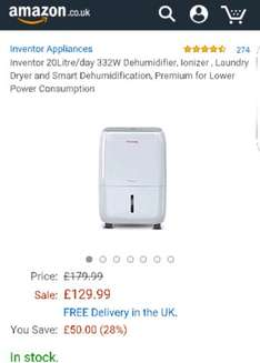 Inventor 20Litre/day 332W Dehumidifier £129.99 Sold by Inventor Appliances and Fulfilled by Amazon