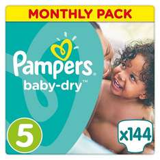 Pampers Baby-Dry Nappies Monthly Saving Pack - Size 5, Pack of 144 on Amazon (One time purchase £13.33 or Subscribe and save £12.66 with potential 20% off for Amazon Prime members excluding Amazon Student)