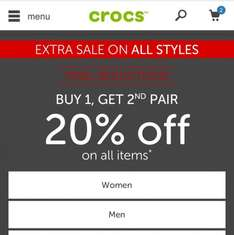 CROCS final Reductions on sale items buy 1 get 20% off second pair