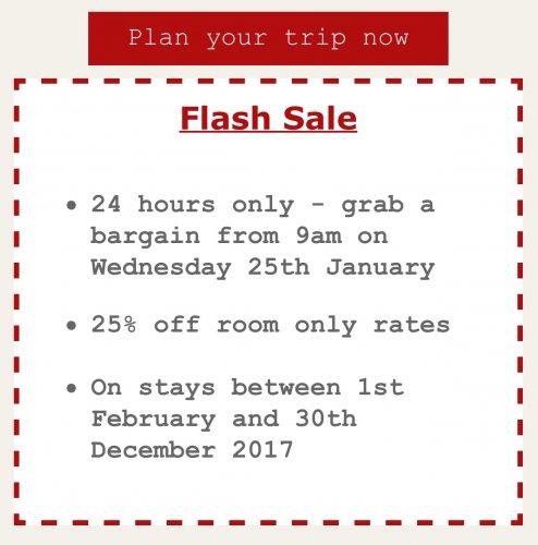 Jurys Inns Flash sale. Starts Wednesday 25th January at 9am