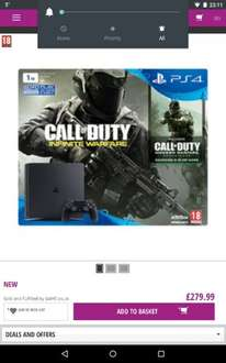 PS4 1Tb plus Infinite Warfare with Modern Warfare Reloaded plus Free second controller and 2 months Now TV pass £279 @ Game