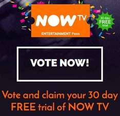 30 Day Free Trial of Now TV with votes for National Television Awards