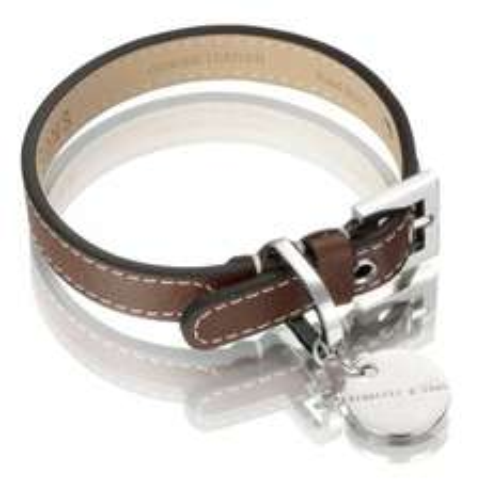 Italian leather large dog collar chocolate brown - £8.59 @ Amazon